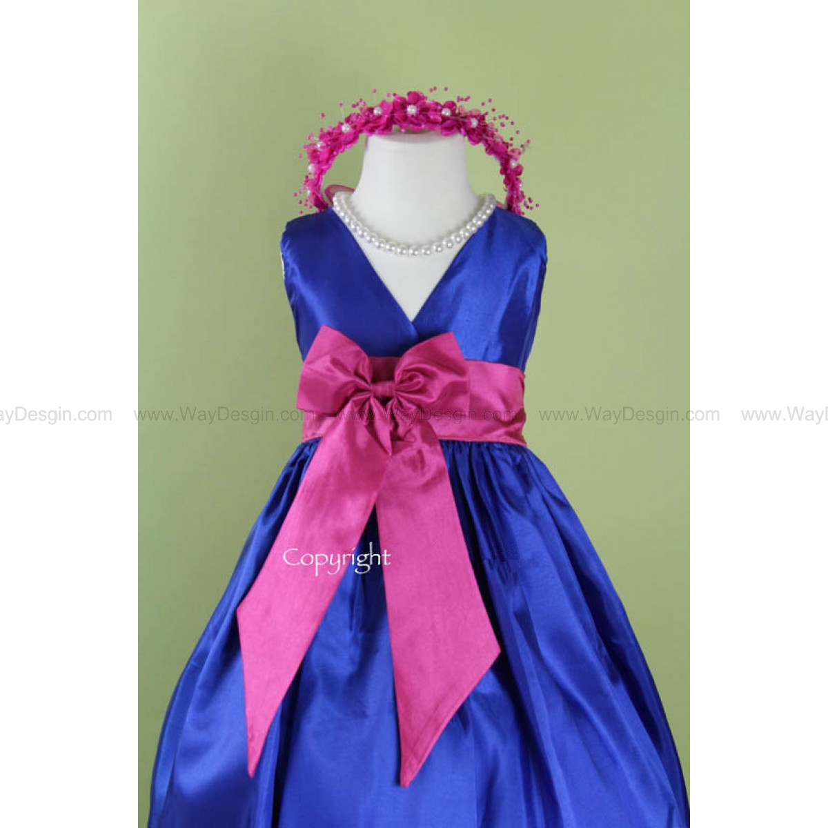 Flower Girl Dress - Blue ROYAL V Dress with FUCHSIA Bow Sash - Easter, Junior Bridesmaid, Wedding - From Toddler to Teen