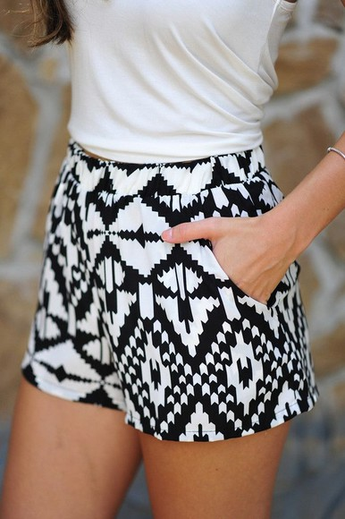 shorts high waisted short tribal pattern