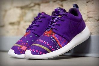 shoes purple purple shoes nike running shoes nike shoes nike free run roshe runs aztec nike aztec roshe run
