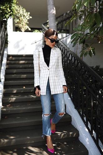 jacket white blazer plaid blazer top black top ripped jeans pumps pink heels jeans denim black jeans