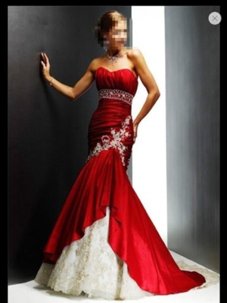 Red Mermaid Style Wedding Dresses