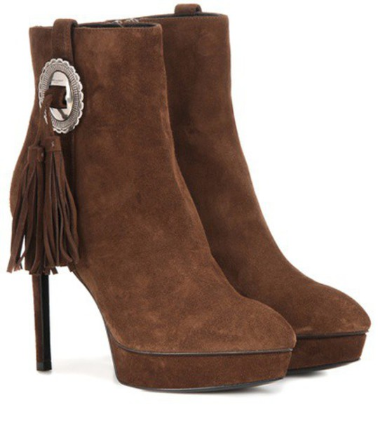 Saint Laurent suede ankle boots boots ankle boots suede brown shoes