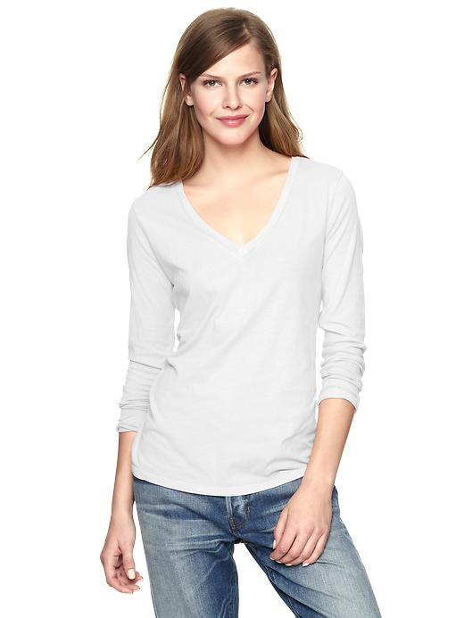 gap essential long sleeve v neck t - dragon flies white