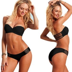 Amazon.com: Black/white Color,size S/m/l Sexy Women Bikini Push-up Padded Swimsuit Bathing Bandeau Removable Strap Black: Sports & Outdoors