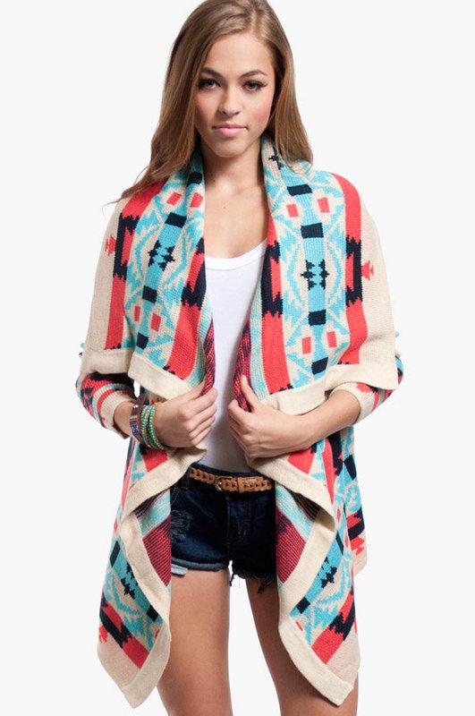 Aztec drape cardigan $47