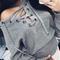 Criss cross gray jumper