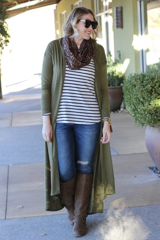 middleofsomewhere blogger cardigan t-shirt jeans scarf jewels bag sunglasses long cardigan knee high boots fall outfits striped top