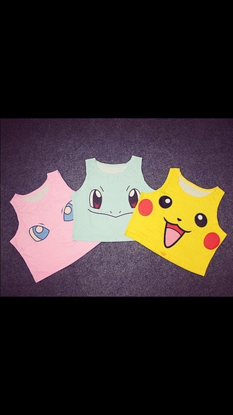 shirt pokemon pikachu pokemon crop tops