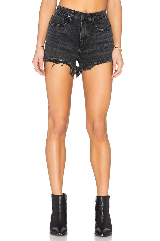 DENIM x ALEXANDER WANG Bite High Rise Frayed Jean Shorts in black