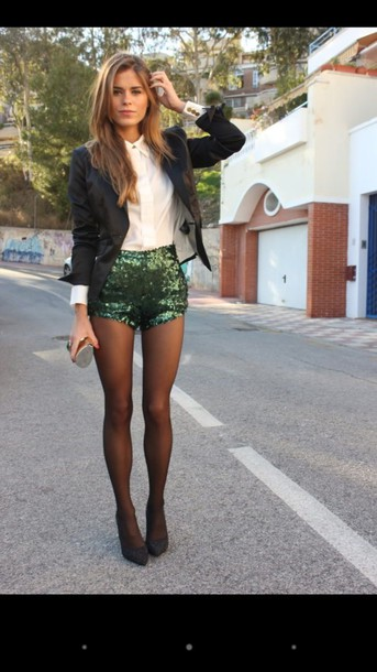 shorts green sparkly shorts black blazer white dress shirt jacket