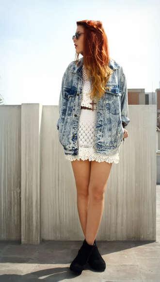 dress white dress lace jacket belt acid wash