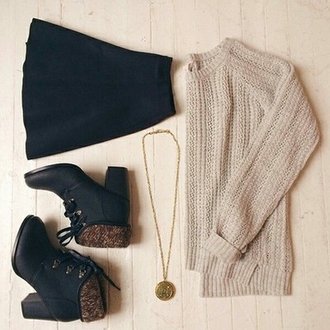sweater skirt shoes fall outfits black skirt winter sweater