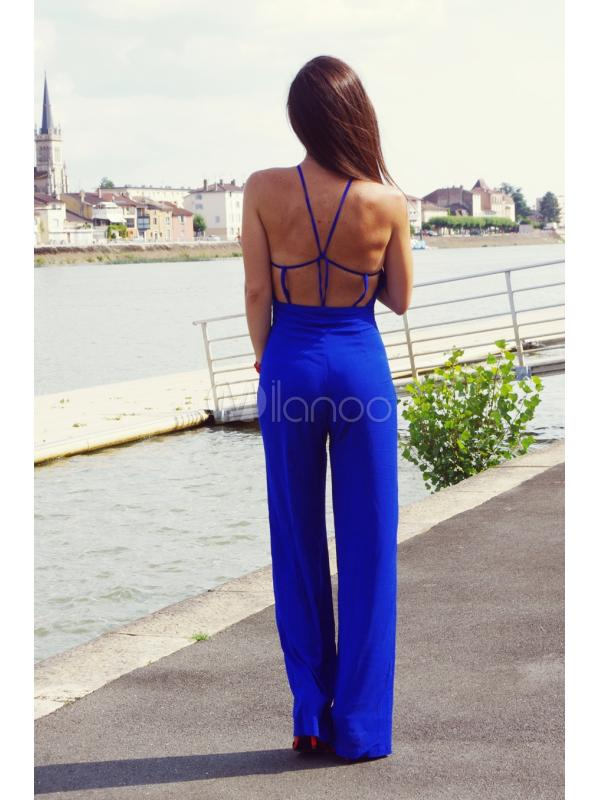 Blue Polyester Unique Wide Leg Jumpsuit For Women