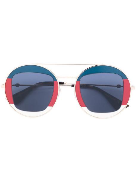 Gucci Eyewear - Sylvie Web round metal sunglasses - women - metal/Acetate - 47, Blue, metal/Acetate