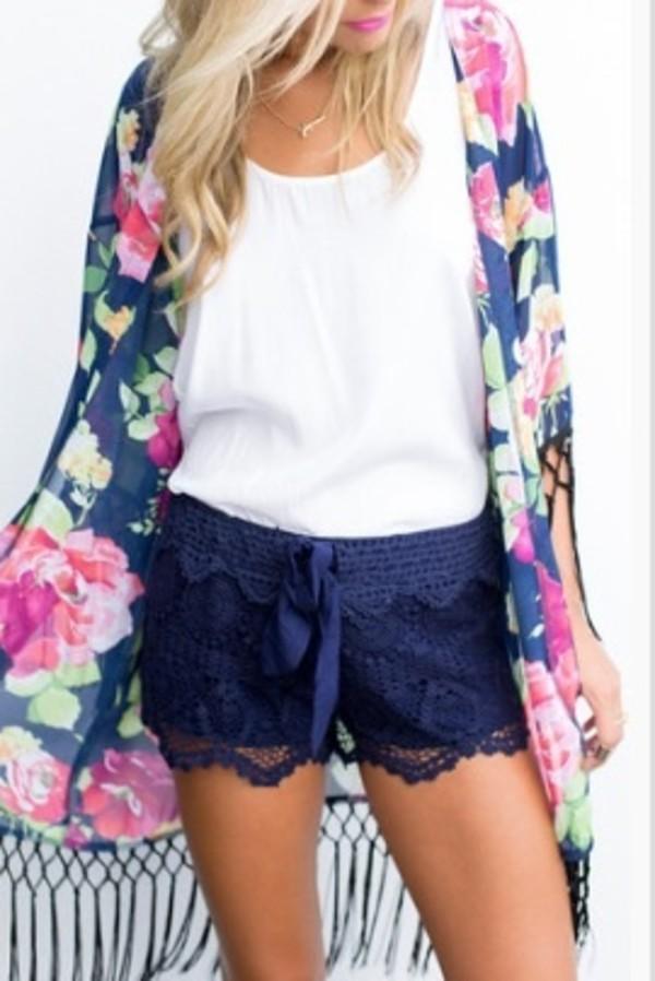 lace navy kimono floral blouse