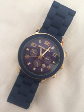 jewels,watch,micheal kors watch,girly,navy,gold navy