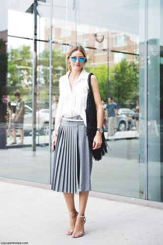 shirt asymmetric shirt white shirt sleeveless sleeveless shirt skirt pleated skirt grey skirt midi skirt sandals sandal heels high heel sandals sunglasses blue sunglasses mirrored sunglasses bag black bag fringed bag olivia palermo fashionista asymmetrical top