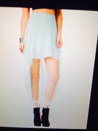 skirt high low white cut offs long skirt