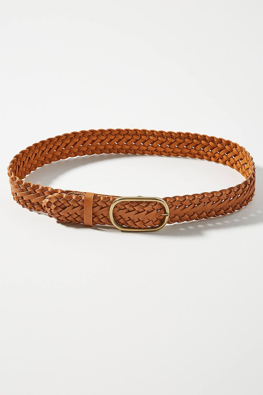 Braided Leather Belt by Anthropologie in Brown