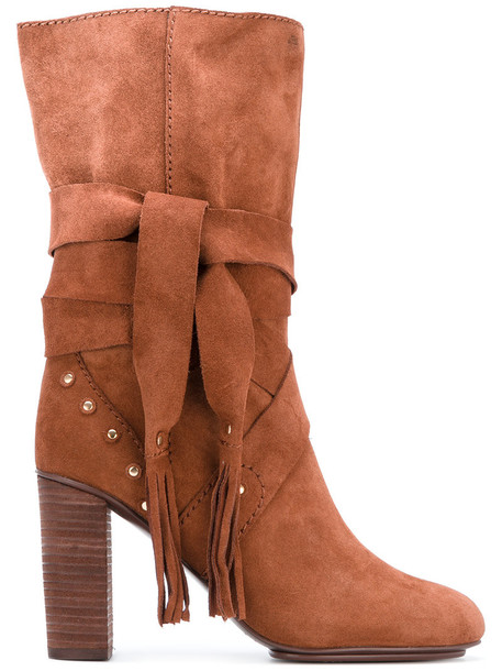 See by Chloe studded women leather suede brown shoes