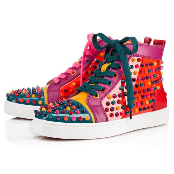 shoes louis christian louboutin sneakers christian louboutin multicolor  spiked flats sneakers orange green multicolor sneakers sneakers e1491024e2