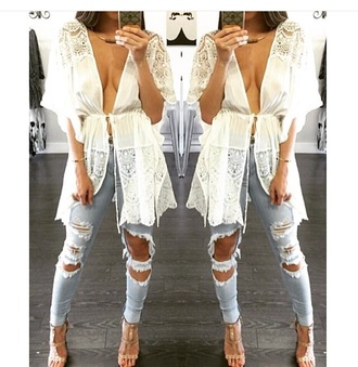 ripped jeans light blue jeans blue jeans nude high heels kimono cute top outfit spring outfits spring lace top white top