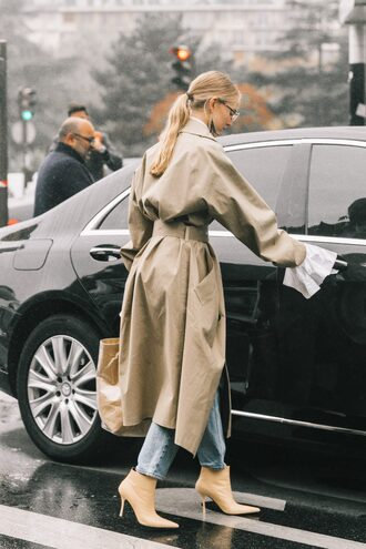 coat tumblr streetstyle trench coat boots nude boots ankle boots pointed boots