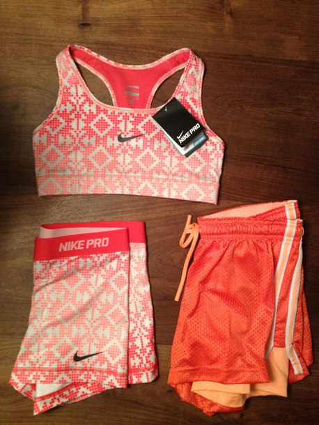 Shorts sports bra spandex cute pattern tribal pattern orange pink nike pants shirt t ...