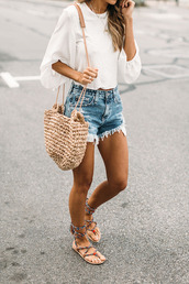 blouse,tumblr,white blouse,white top,three-quarter sleeves,shorts,denim,denim shorts,flats,flat sandals,sandals,bag,straw bag,spring outfits,woven bag,shirt,i want all of it ,top,white dress,boho chic