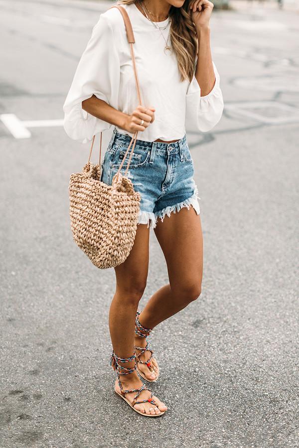 blouse tumblr white blouse white top three-quarter sleeves shorts denim denim shorts flats flat sandals sandals bag straw bag spring outfits woven bag shirt i want all of it  top white dress boho chic