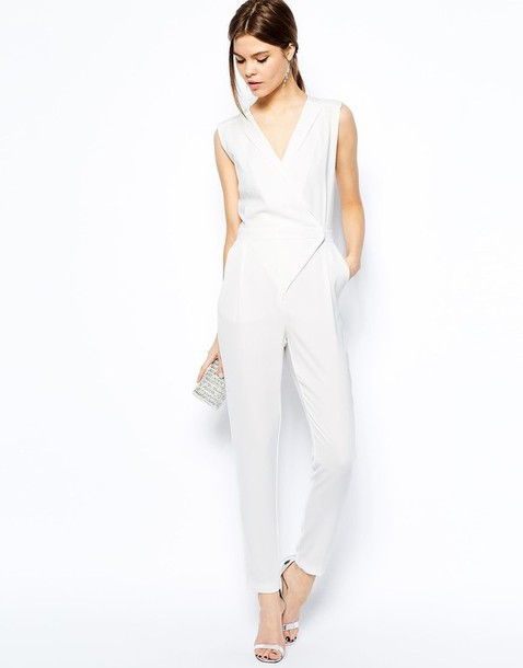 Jumpsuit: white jumpsuit, v neck, classy, minimalist - Wheretoget