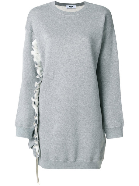 MSGM dress sweatshirt dress ruffle women cotton grey