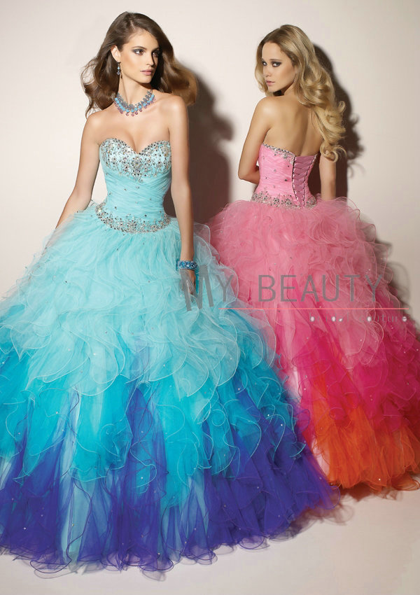 Aliexpress.com : Buy Charming Sweetheart Ball Gown Ruffle Nice Combination Quinceanera Dress Colorful Tulle Prom Pageant Gowns hsc 005 from Reliable gown ball suppliers on 27 Dress