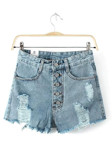 Ripped Single-row Button High Waist Demin Short [DLN1192] - PersunMall.com