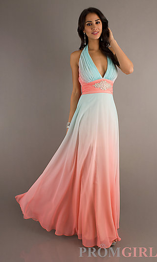 Halter Evening Gown,  Betsy and Adam Long Ombre Dresses- PromGirl