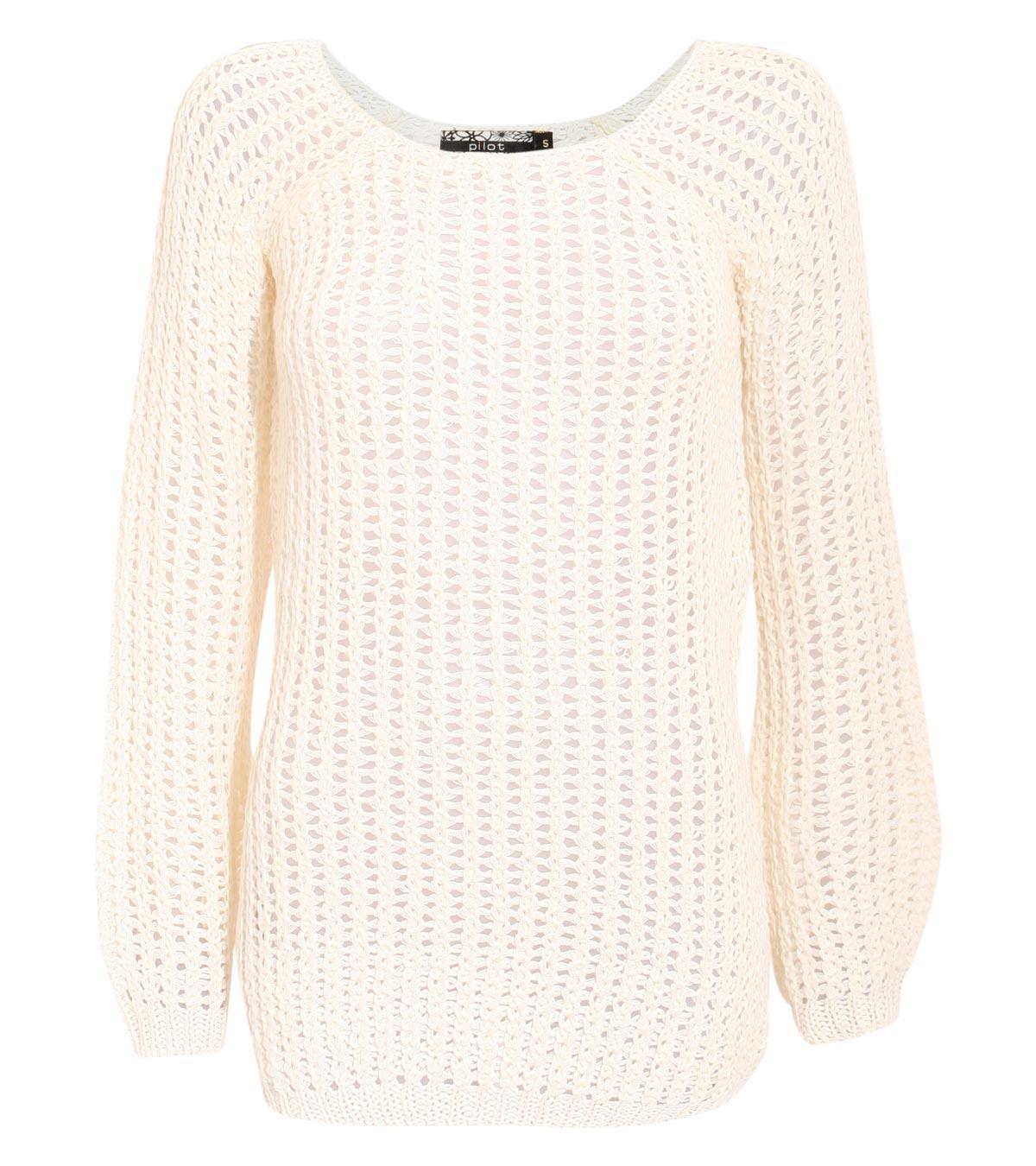 Pilot emma open knit jumper sweater in cream