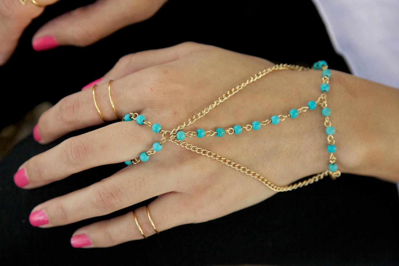 turquoise bead hand chain - bracelet-