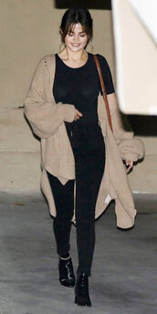 top,pants,ankle boots,selena gomez,cardigan,streetstyle,spring outfits