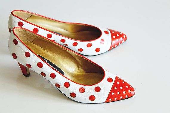 Vintage Retro Red & White Poka Dot Heels Shoes 8 by poshcouture