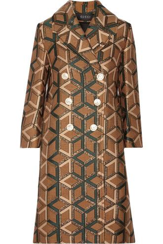 coat metallic jacquard brown