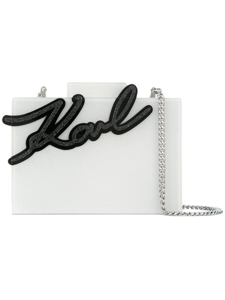 karl lagerfeld women clutch white bag
