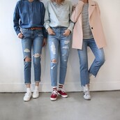 jeans,tumblr,tumblr outfit,cute outfits,aesthetic,ripped jeans,All denim outfit