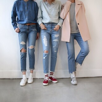 jeans tumblr tumblr outfit cute outfits aesthetic ripped jeans all denim outfit