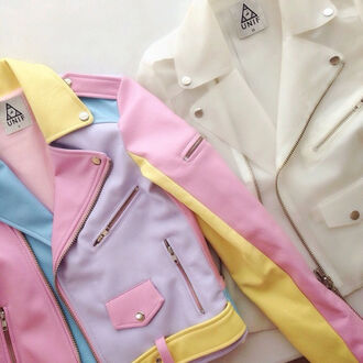 jacket blue gold zip button unif cute leather leather jacket white pink purple yellow pastel pale white leather jacket white leather fashion trendy summer