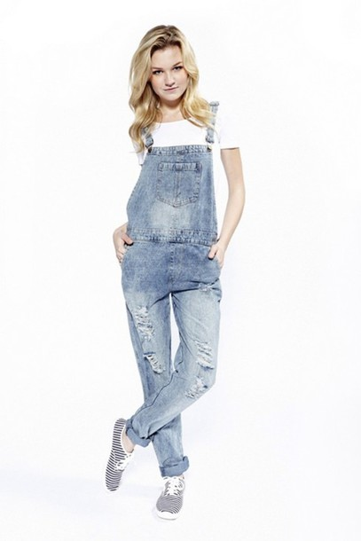 Pants: boyfriend fit, overalls, denim overalls, distressed denim ...