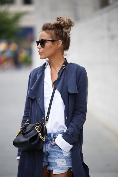 happily grey blogger bag coat fashion trench coat blue trenchcoat hipster blue coat