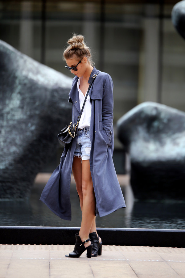 happily grey blogger bag coat fashion trench coat blue trenchcoat hipster blue coat