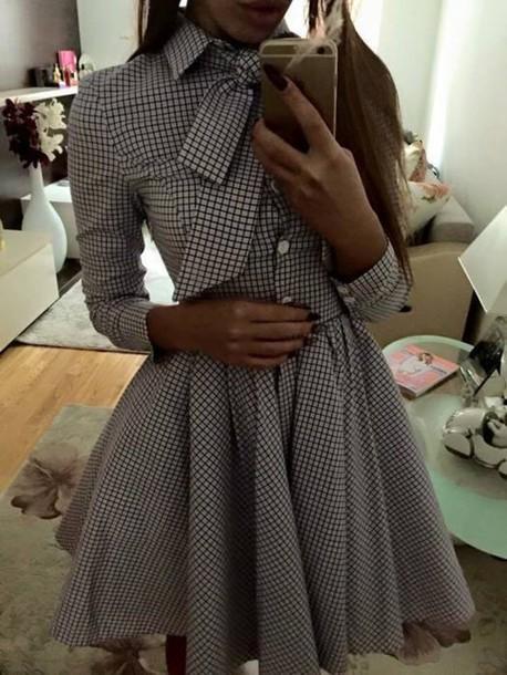 dress a-line bow plaid