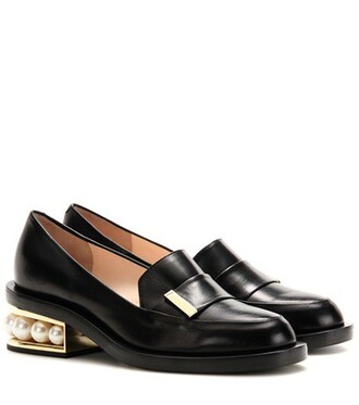 embellished loafers leather black shoes