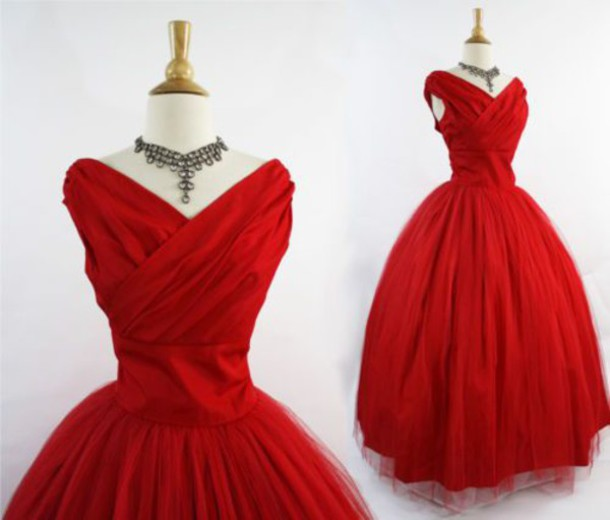 Dress Vintage 50s Style Red Ball Gown Rockabilly Prom Tulle Skirt Taffeta